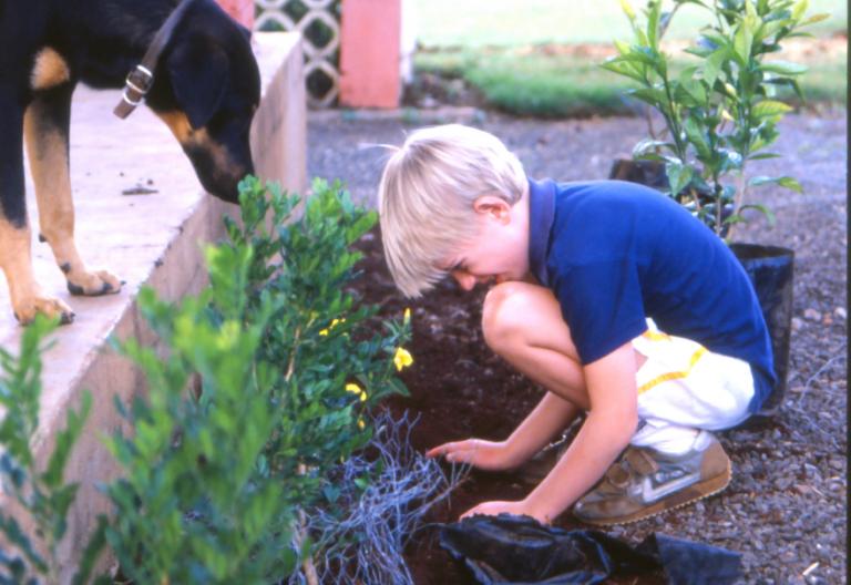 Chris planterar Othaya